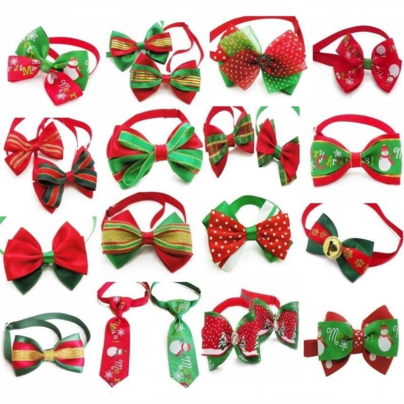 100 sztuk / partia Boże Narodzenie Holiday Dog Bow krawaty Cute Krawat Kołnierz Pet Puppy Dog Kotki Akcesoria Do Grooming Materiały P88 201029
