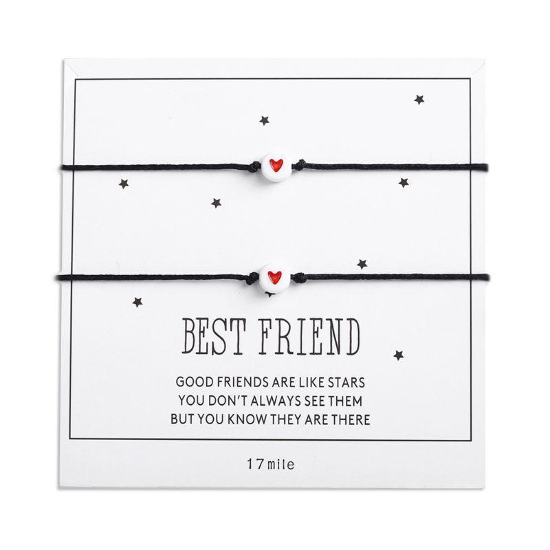 2 pz / set cuore perlina corda braccialetto coppia Bangles gioielli regalo per le donne ragazze