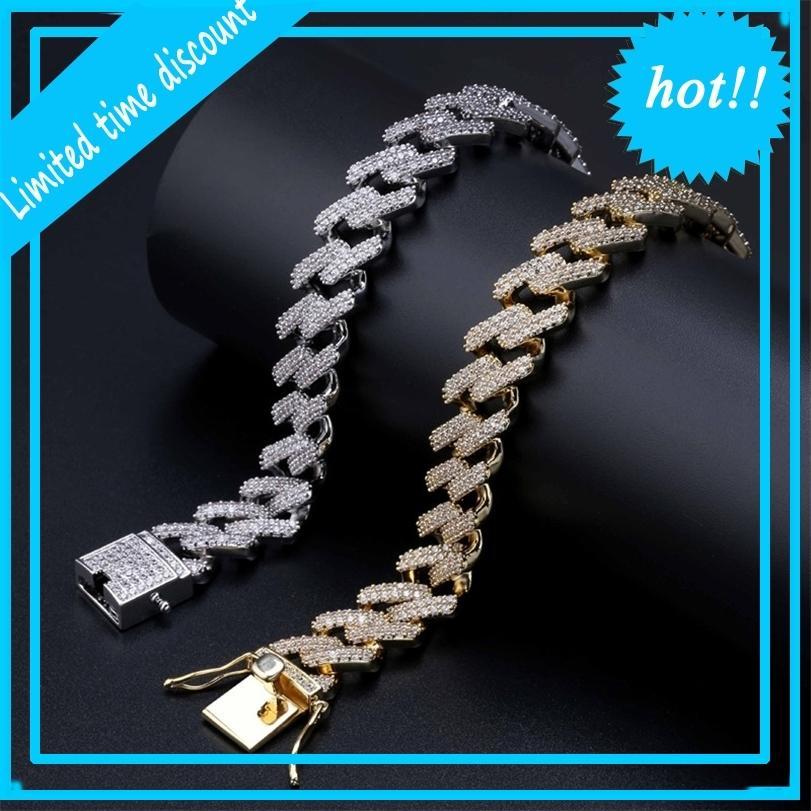 14mm 7 / 8Nch Diamante Diamonds Diamonds Cuban Collegamento Catena Braccialetto Gold Argento Iced Out Cubic Zirconia Gioielli da uomo Hiphop