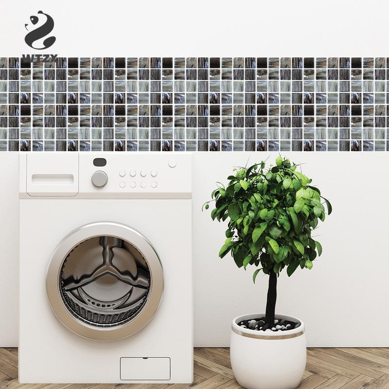 6pcs/lot PVC Waterproof Removable Crystal Wood Grain Style Wall Stickers Ceramic Tile Paste 3D DIY Wallpaper Wall Retro Tile