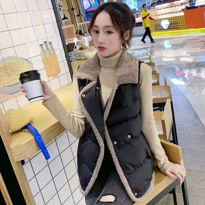 Casual hembra de empalme de lana de cordero corto de algodón chaleco flojo chaqueta sin mangas chaqueta de algodón