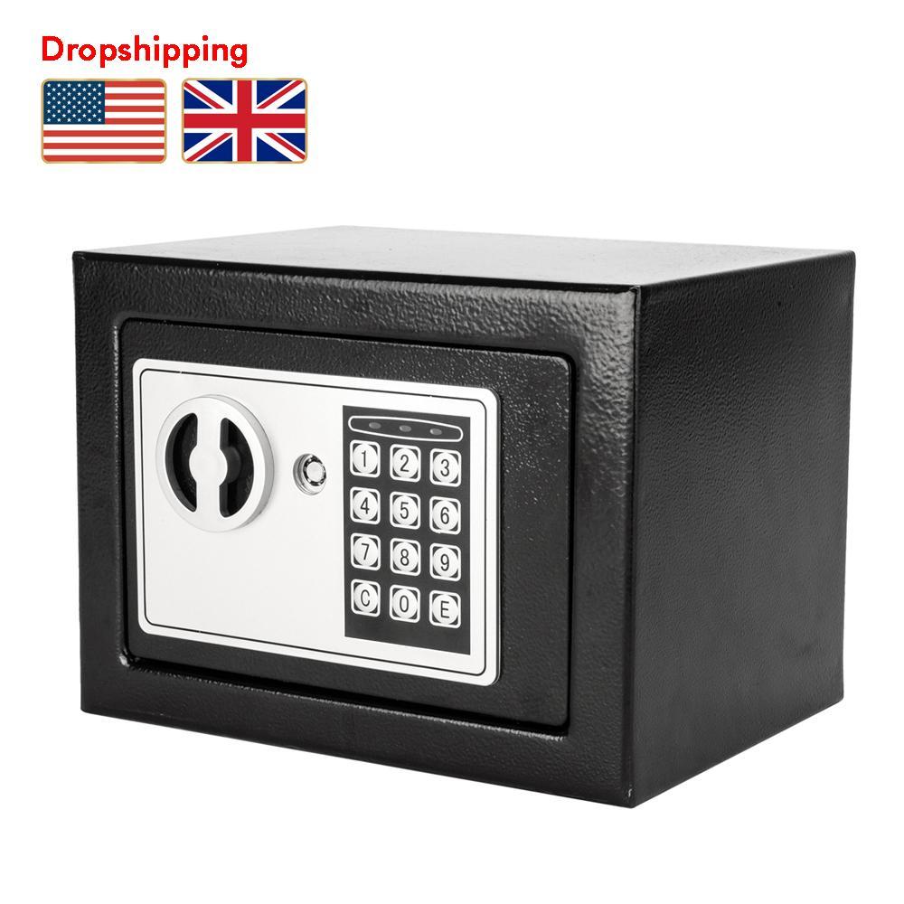 Stock en US UK Mini Mot de passe électronique Boîte Safe Coffre-clavier Verrouillage Strongbox Cash Box Steel avec Key Dropshipping