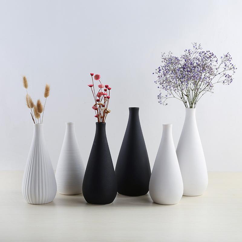 Semplice moderno ceramica bianca / nero vaso soggiorno decorazioni da tavolo artificiale fiori secchi artificiali vasi decorazione della casa regalo di nozze1