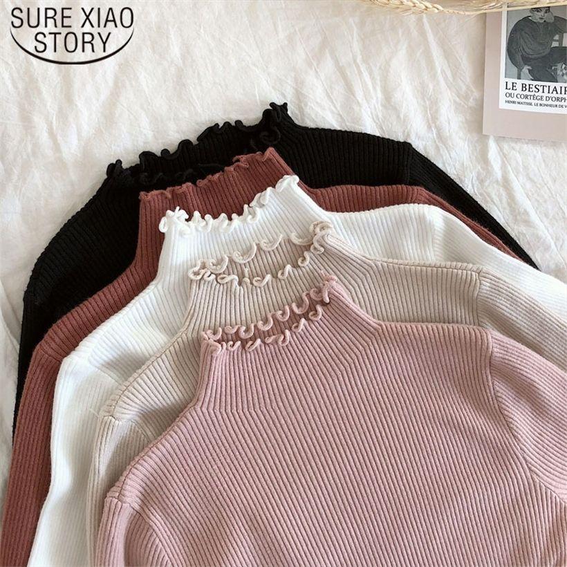 2021 Primavera Invierno Moda Slim Sweater Women Turtleneck Frunched Mujeres Suéter Alto Elástico Sólido Sexy Punto Punto con punto 6785 201221