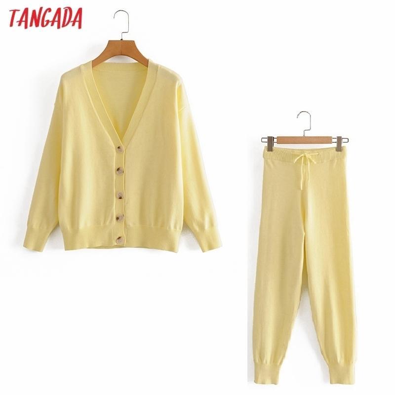 Tangada Damen Set Solid Cardigan Pullover Jumper Hosen Set Herbst Winter Anzug 2 Stück Set Pullover und Hosen JE108 201028