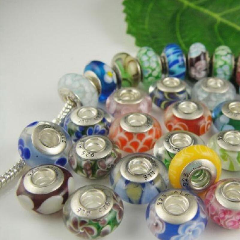 Glasperlen Große Loch Charms Murano Perle Silber Überzogene 925 Gewindekern Lose Perlen für DIY Armbänder Halsketten Schmuck Zubehör Zhzp001