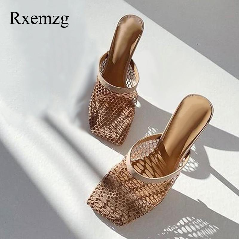 Rxemzg summer vintage square toe woman slippers sexy new hollow breathable mesh woman thin high heels sandal mules ladies shoes Y200706