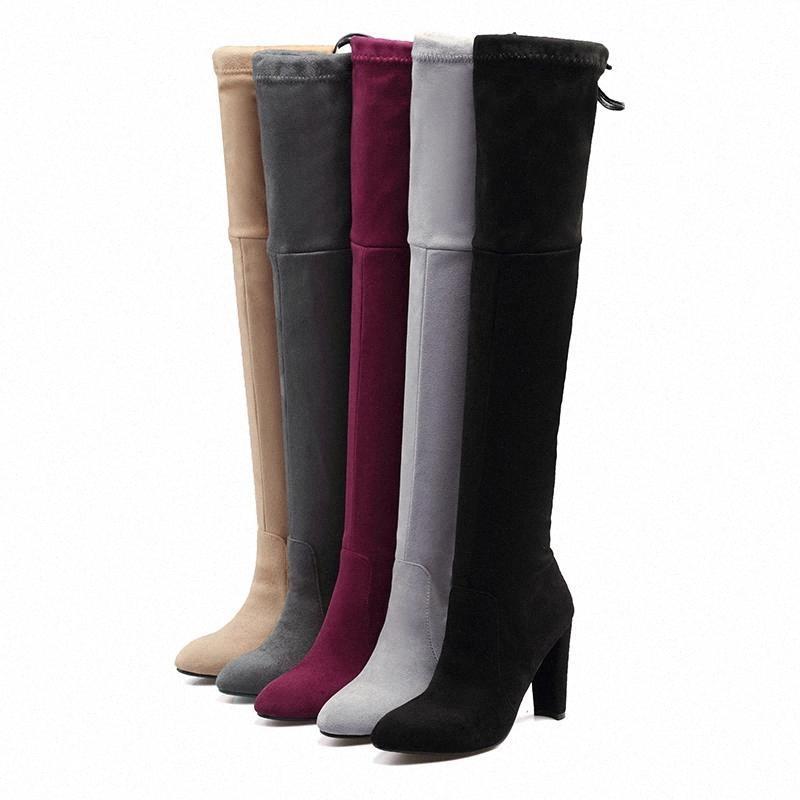 2020 плюс размер 33-44 женщины фетиш над сапогами колена 10.5 см высокие каблуки длинные веревки боргундские сексуальные теплые плюшевые зимние туфли # 1y2x