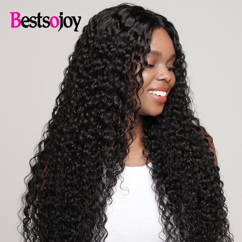 Bestsojoy Human Hair 180% Density Kinky Curly Wig Black Women Middle Part 4x4 Golden Lace Front Wigs Perruque Cheveux Humain