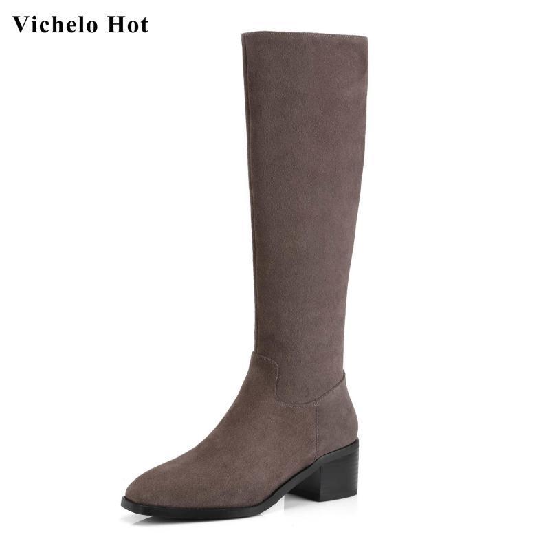 Botas Vichelo Genuine Leather Square Toe Med Heels Soltos Lado Sold Zipper Básico Diário Desgaste Moda Inverno Mulheres Coxa L3F1