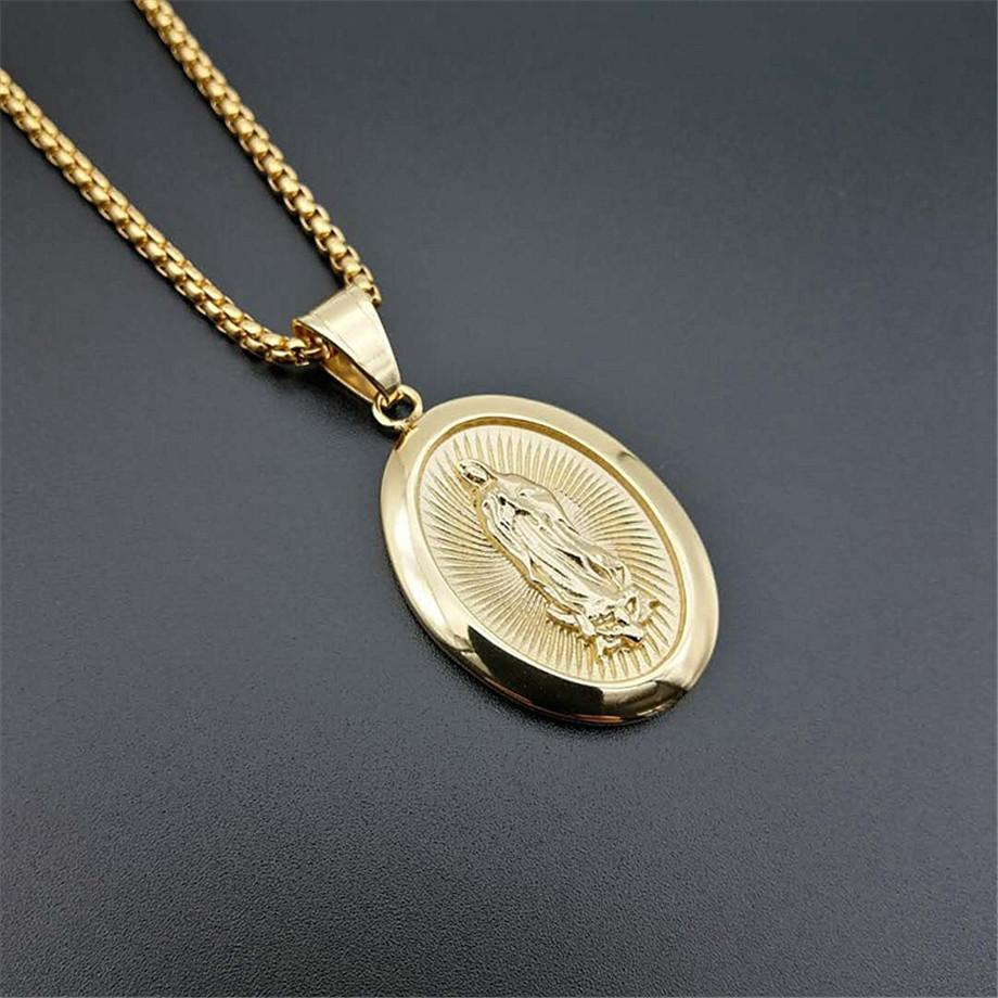 Hip Hop Iced Out Big Virgin Mary Necklaces Pendants Gold Color Stainless Steel Chain For Women Christian Jewelry Madonna U1368Q0115