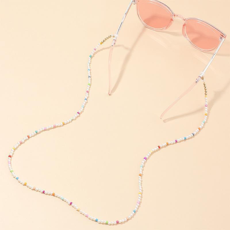 Солнцезащитные очки Рамки Богемный стиль цветные бусины имитация жемчуг ремешка промежуток промежутки крепостей шнуры для чтения очки цепь модных женщин аксессуары