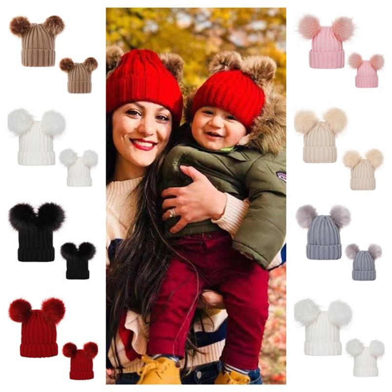 Pom Pom Balls Crochet Beanies Ribbed Knit Womens Winter Hat 0-3 Years Infants Baby Kids Toddler Skull Caps Tuque Girls Headwear E101904