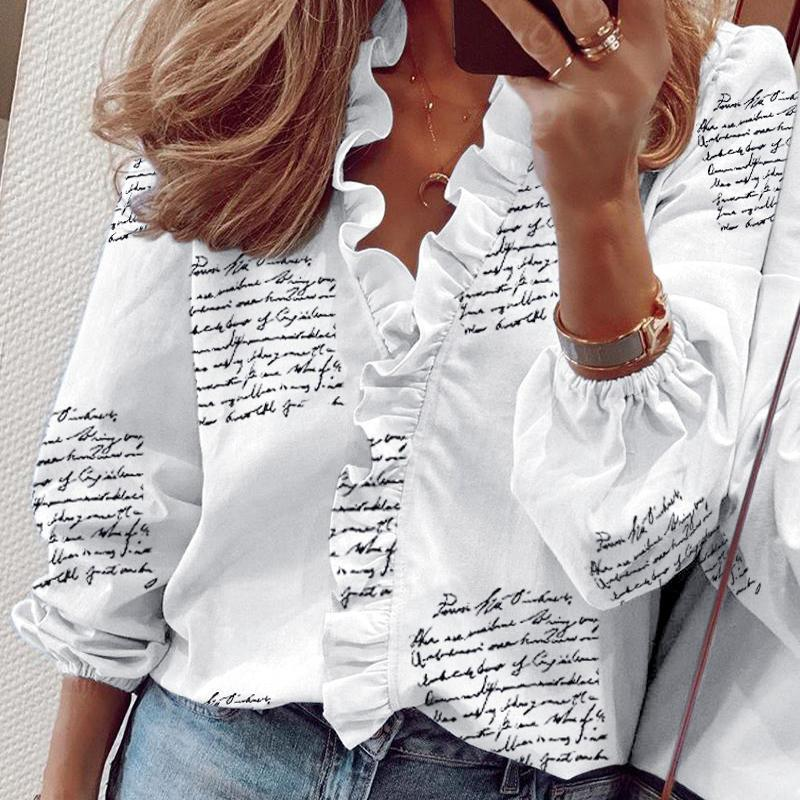 LaStylisher Fashion Printed V-Neck White Blouse Shirt Tops Women Ruffles Shirt Long Sleeve Casual Plus Size Blouse Streetwear