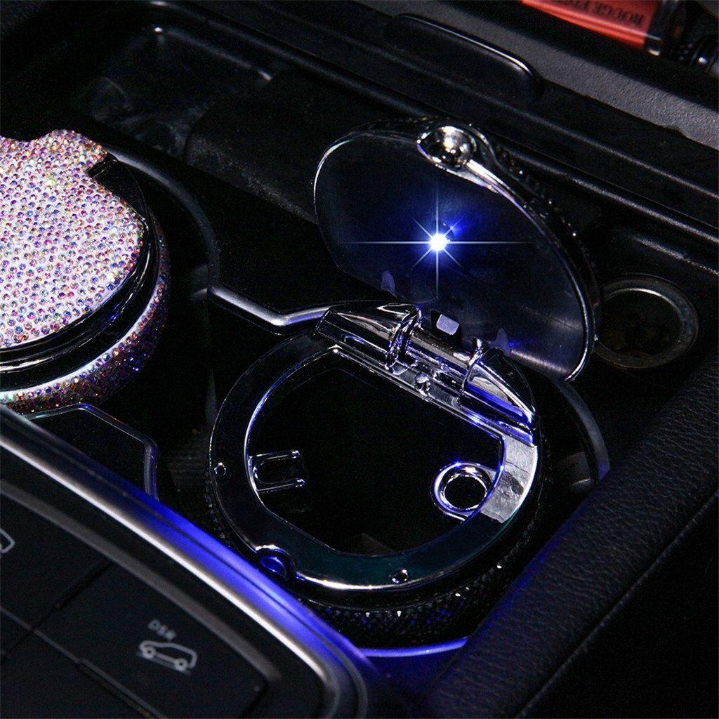 cenicero portátil coche con soporte de luz de cristal diamantes de imitación de diamante llevada del coche Cenicero Cenicero Copa de almacenamiento Negro para niñas Woman5.8 yZkw #