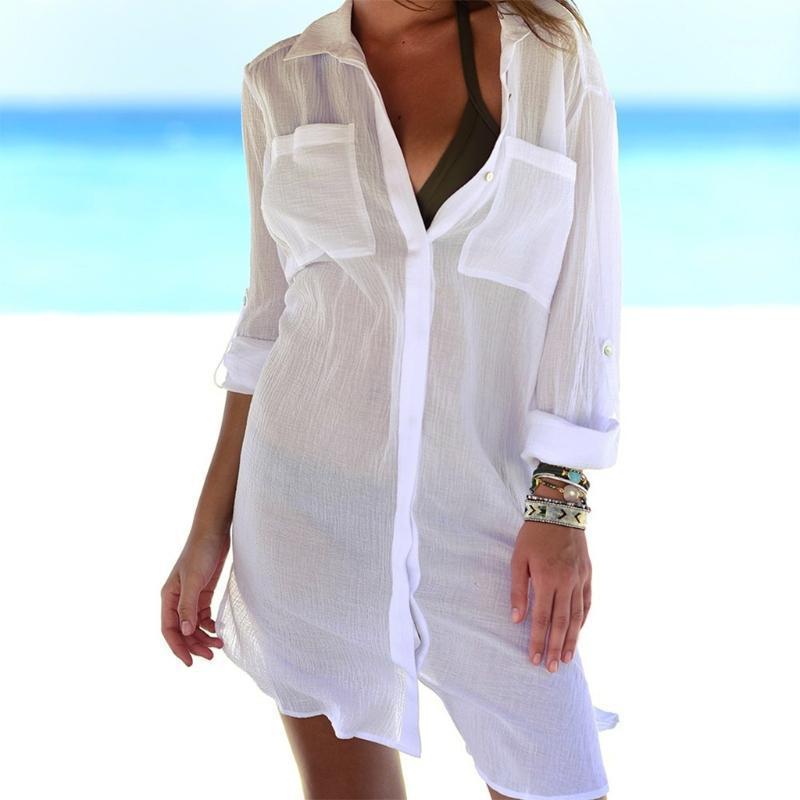 KLV Womens Beach Shirt Swimsuit Sottile Bikini Cover Up Robe Tunica Shirt V-Neck Summer Solid Boyfriend Style Bianco verde nero