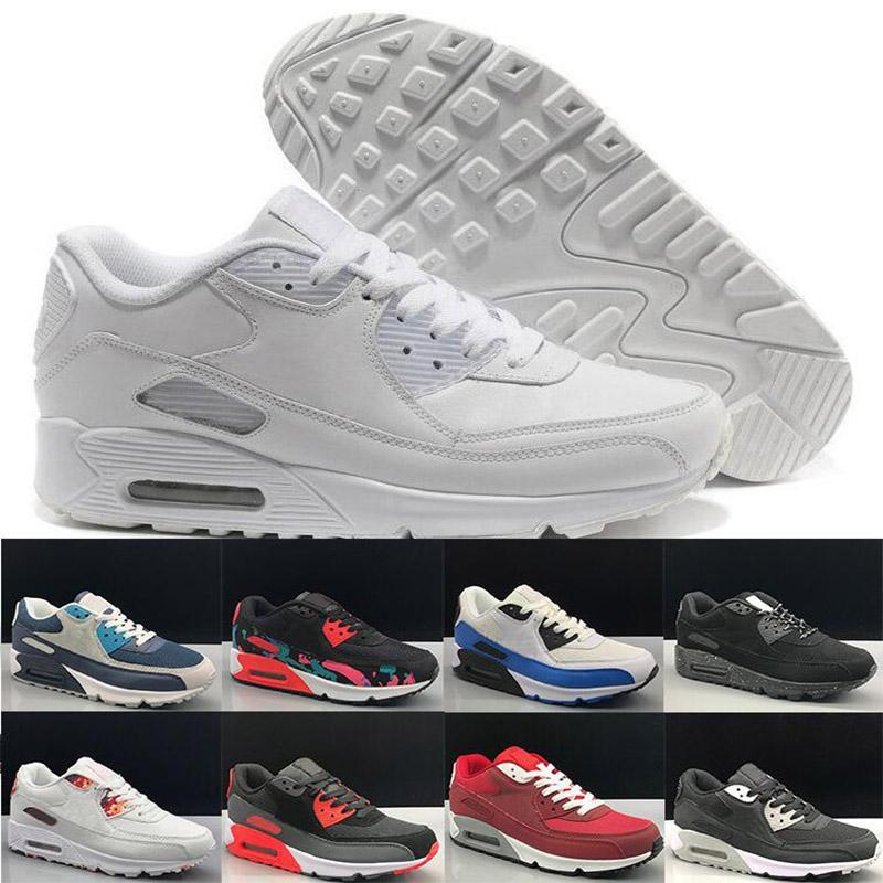 2020 패션 남자 운동화 신발 클래식 90 남자 실행 신발 스포츠 트레이너 쿠션 90 표면 통기성 스포츠 신발 36-45