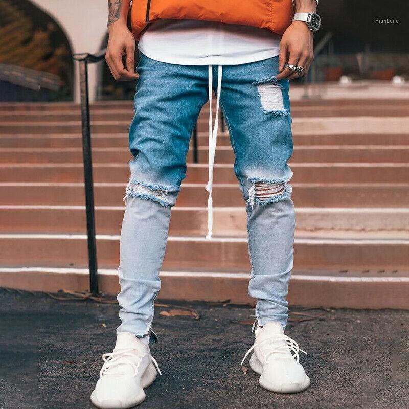 2020 Erkek Pantolon Streç Uzun Skinny Jeans Artı Boyutu 3XL Siyah Erkekler Degrade Yırtık Delik Pantolon Erkek Mavi Denim Pantolon1