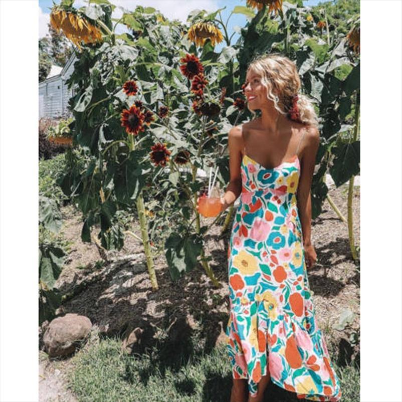 New 2018 Women Summer Bohemian v neck Chiffon Floral Trumpet Prairie Chic Long Maxidress Dress Sundress Drop Shipping