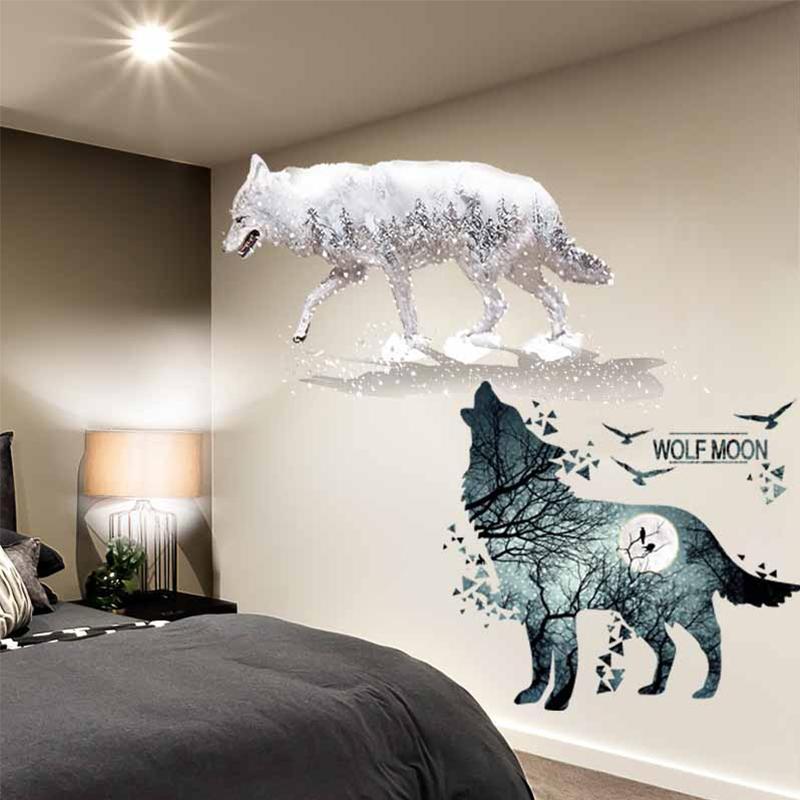 [Shijuehezi] horrible lobo pájaros pegatina de pared DIY animales mural decoración para casa sala de estar dormitorio dormitorio dormitorio decoración 201130