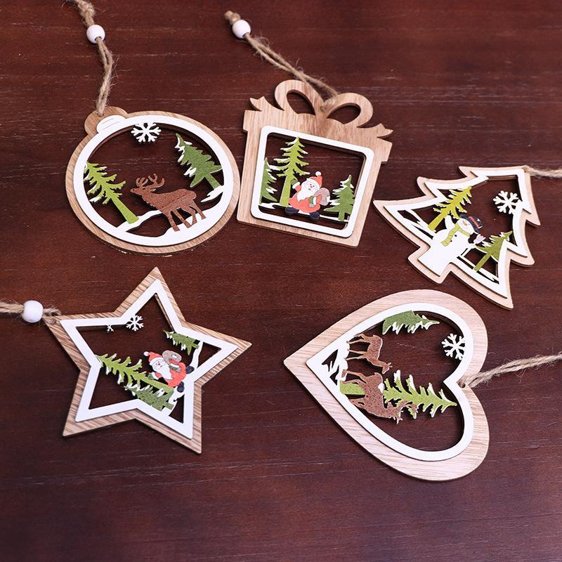 Резные деревянные рождественские украшения елки окна подвески пятиконечная звезда колокола Трехмерные украшения Dropshipping F7001