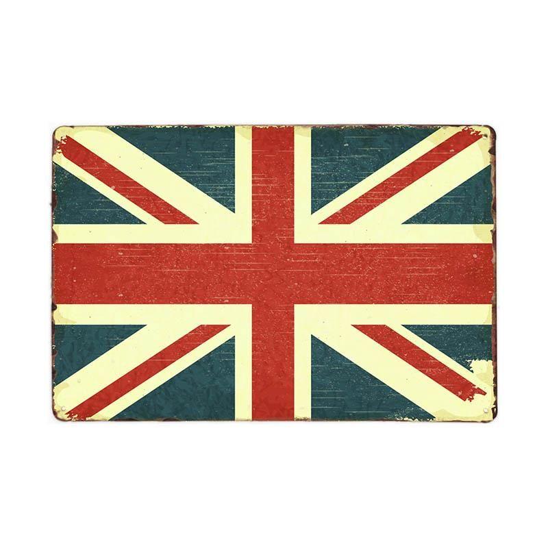 Muestra de la placa de la bandera de decoración de la barra de la vendimia Pub decoración Cartel placas Nacionales 20x30 retro metal decorativo estaño Inicio qylAQF allguy