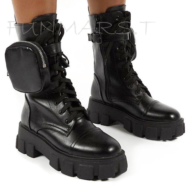 Yeni Tıknaz Moda Cep Platformu Ayak Bileği Kadın Tek Kılıfı Motosiklet Çizmeler Ayakkabı Kadın Botas Mujer 201104