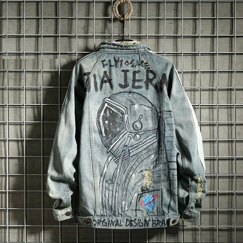 Giapponese Giapponese Denim Giacche Denim Stellato Astronauta Graffiti Retrò Stampa sciolta Giacca sfaviato Cappotti spezzati sfilacciati