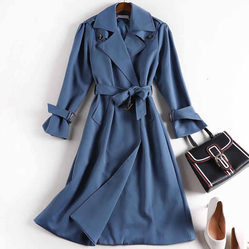 Abrigos de la zanja de las mujeres de alta calidad 2020 otoño abrigo de invierno coreano femenino femenino con cinturón más talla grande 5XL W2012