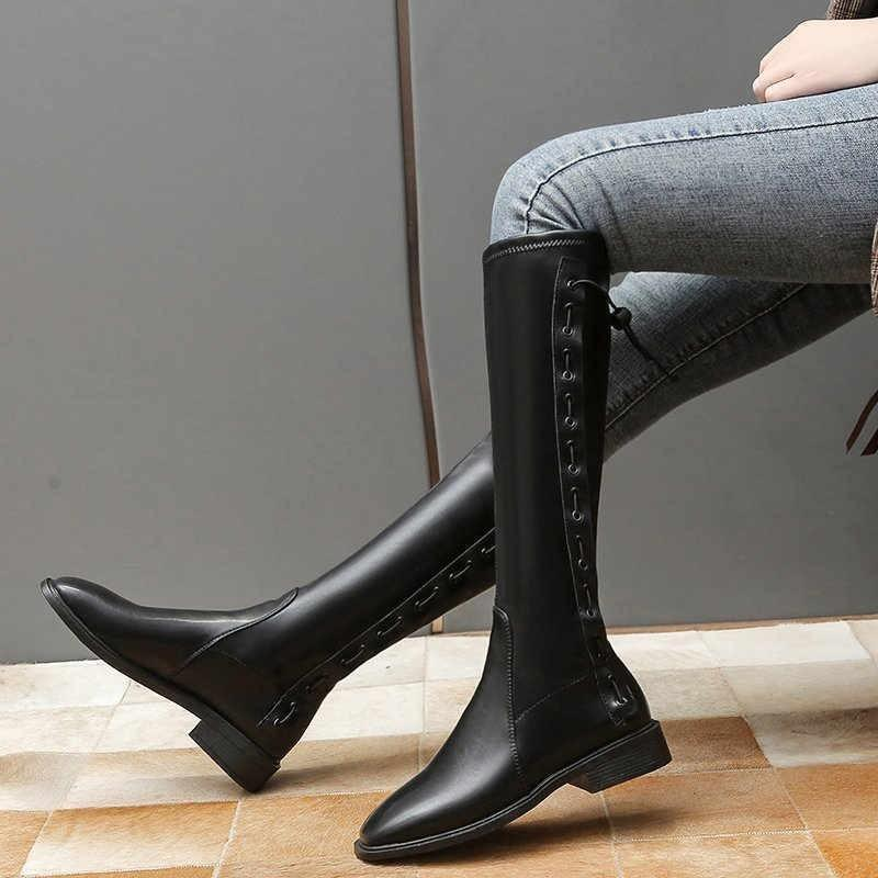 Stivali 2021 Autunno e inverno Pelle morbida del ginocchio del ginocchio del ginocchio di alta tenuta in boots alla moda1