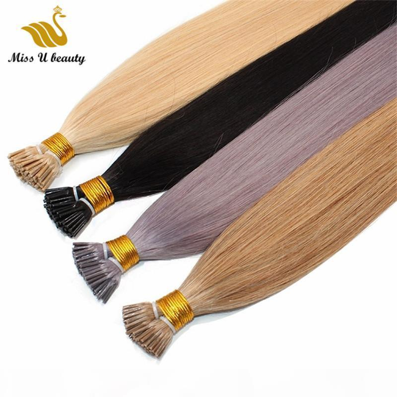 Pre-bonded Hair Extensions I tip Human Hair Cuticle Aligned High Quality Light Color Blonde White Grey Color Hair 100g