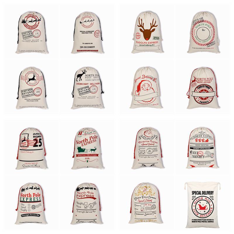 Christmas Santa sacchi di tela Borse Borse grandi organico pesante coulisse regalo personalizzato Festival del partito della decorazione di Natale