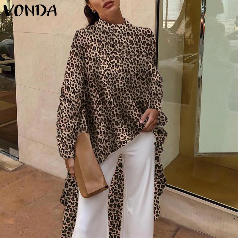 Vonda 2020 Casual Mujeres Blusas Manga Larga Elegante Sevy Summer Leopardo Estampado Imprimir Blusa OL Camisa Asimétrica Tops Largas Plus Tamaño Y200623