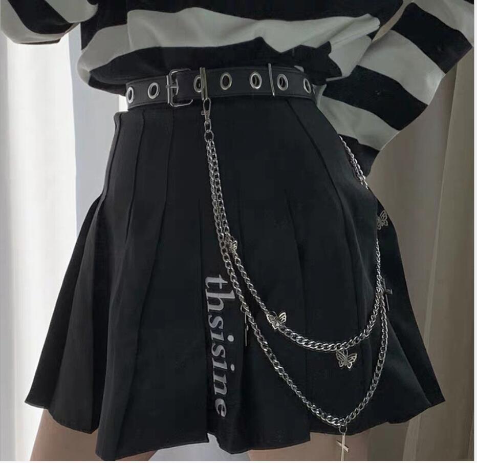 Cadena de metal Punk Hong Kong Estilo Cadena de Cadena Mar Tide Ins Hip Hop Doble Mariposa Cross Trauser Cadena Cadena Collar para hombres y mujeres