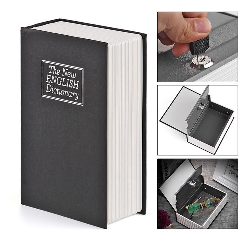 Konesky Nuevo Diccionario Inglés Diccionario Libro Libro de Lock-Up Caja de almacenamiento Monedas Piggy Bank con llaves Seguro para el hogar y el uso del viaje LJ201212