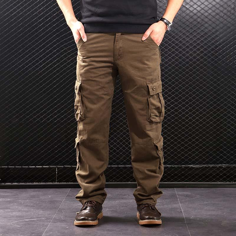 FALIZA Pantalons Cargo Hommes Pantalons Poches multi-style militaire tactique coton hommes outwear Pantalon droit simple d'homme LJ201007