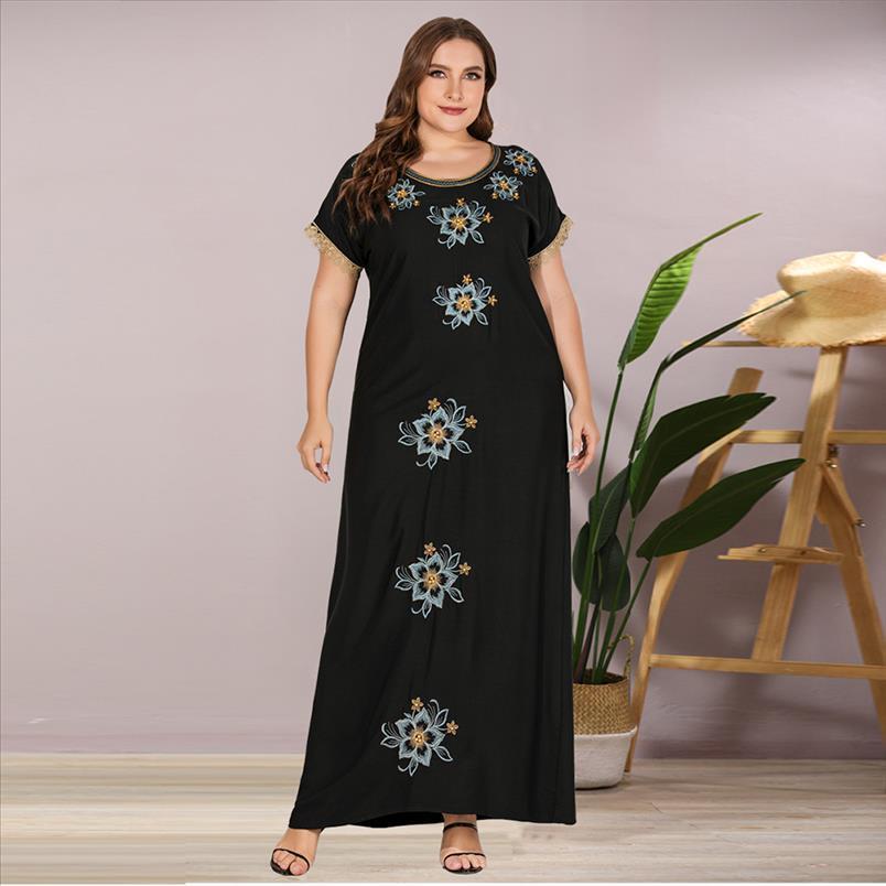 Siskakia brodé robe longue perlée noir plus taille maxi robes maxi robes de mode patchwork manches courtes perdus