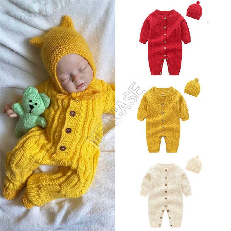 Детская одежда Baby Romber One-Piece Длинные рукава Шляпа Кнопка Свитер Двухструктура набор осенью Зима Новая Детская Одежда D82407