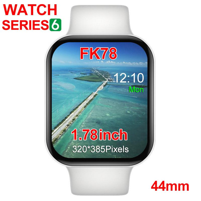 Smartwatch FK78 Serisi 6 1to1 44mm 1.75inch HD Ekran Bluetooth Çağrı Müzik Siri 2 sapanlar Nabız Akıllı Watch Bilezik Bileklik