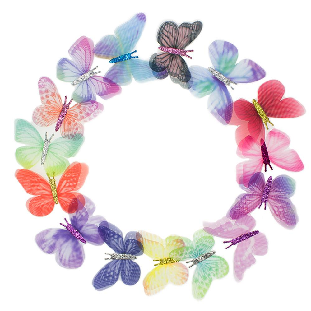 100PCS Gradient Color Organza Fabric Butterfly Appliques 60mm Translucent Chiffon Butterfly for Party Decor, Doll Embellishment 200929