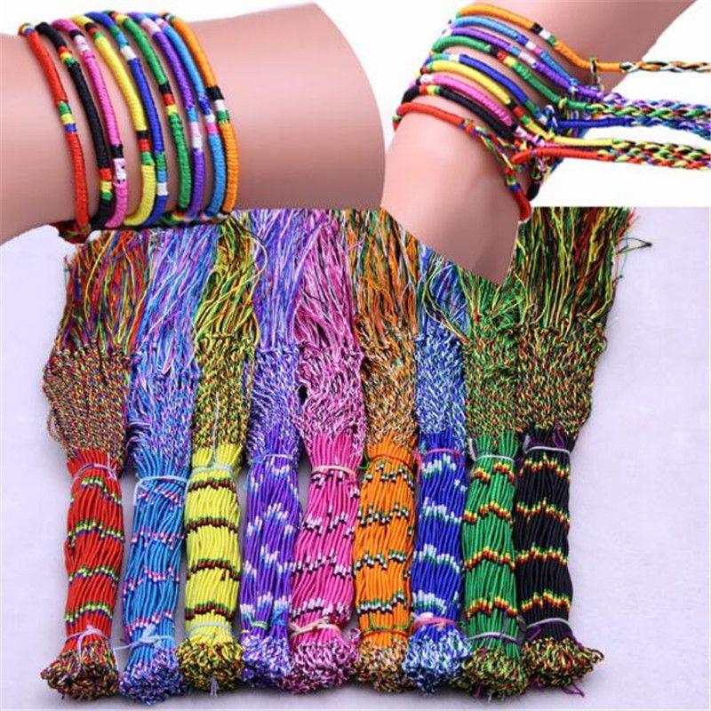 Handmade Braid Pulseira Unisex Adulto Crianças Crianças Jóias DIY corda colorida do cabo de cordão trançado Amizade presentes Pulseiras Chirstmas LY1019