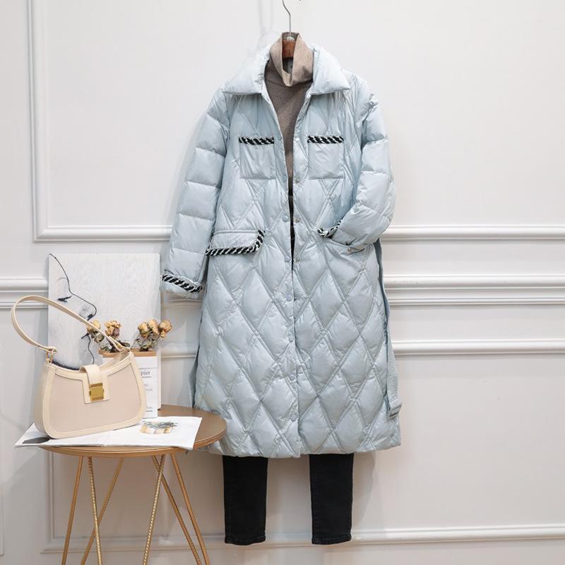 Puffer invierno abrigos esquimales Las mujeres Luz ultra largo de pato chaqueta femenina solo pecho elegante caliente de Corea Outwear abajo cubren