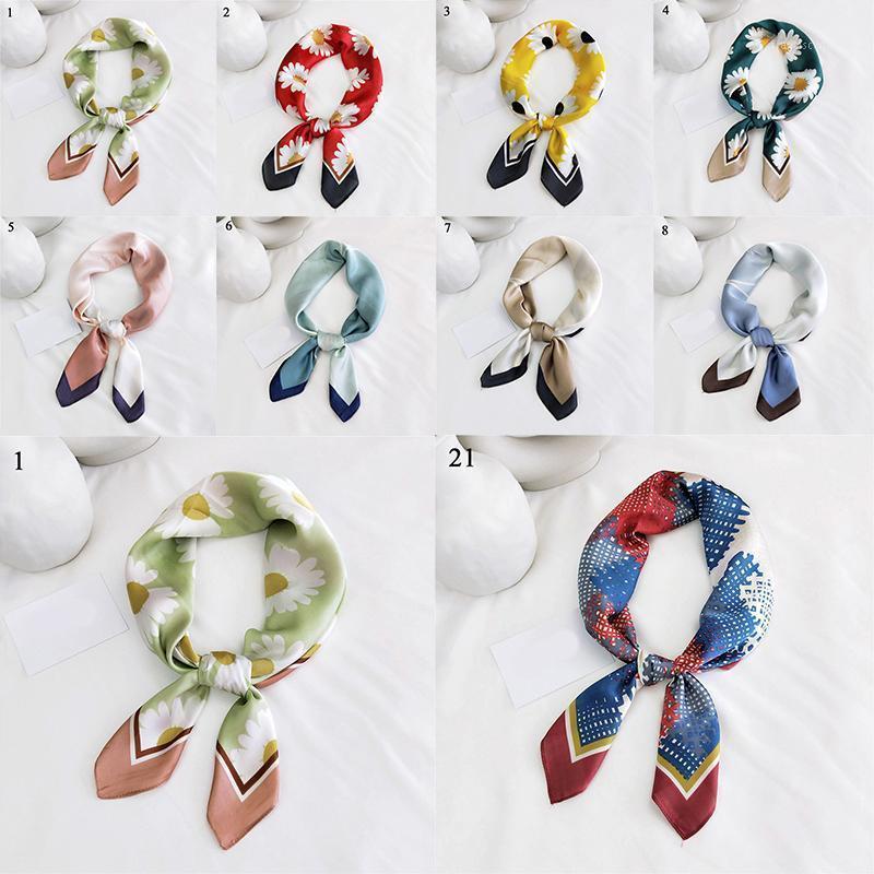 1 unids mujeres suave bandana bufandas decorativas bufanda geométrica floral estampado cuadrado bufanda pelo seda satinado kerchief small1