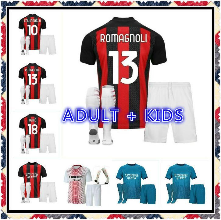 Erwachsenen-Kit 20 21 BRAHIMOVIC AC Milan Fußball-Trikots Calhanoglu 2020 2021 REBIC THEO Paquetá Fußball-Hemd MALDINI Uniformen Mailand Jersey