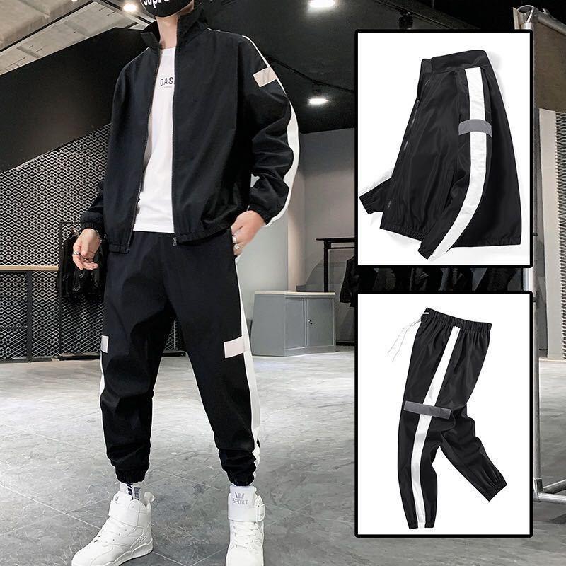 Men Sportswear Spring Autumn Hoodies Set Men's Tracksuit Patchwork Hip Hop Jacket+pants Male Casual Two Pieces Track Suit