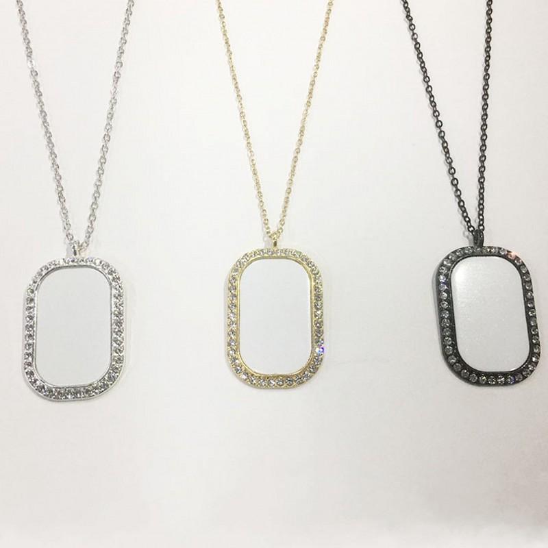 Rechteck Sublimationsrohling Anhänger Filetform Kristalllegierung Halskette Frauen Dame Schmuck Zubehör Kette Charme Geschenk 8 5BC N2