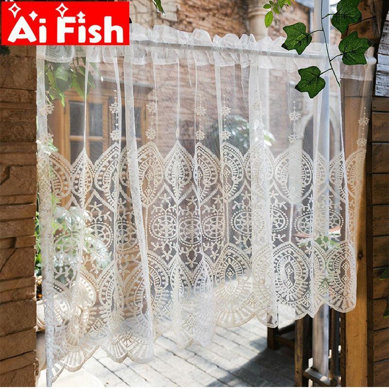 Europea bordado paneles cortos Kithchen Cafe Beige gasa ventana de la puerta Tratamiento boda romántica wp022 Cortina Cortinas Decoración