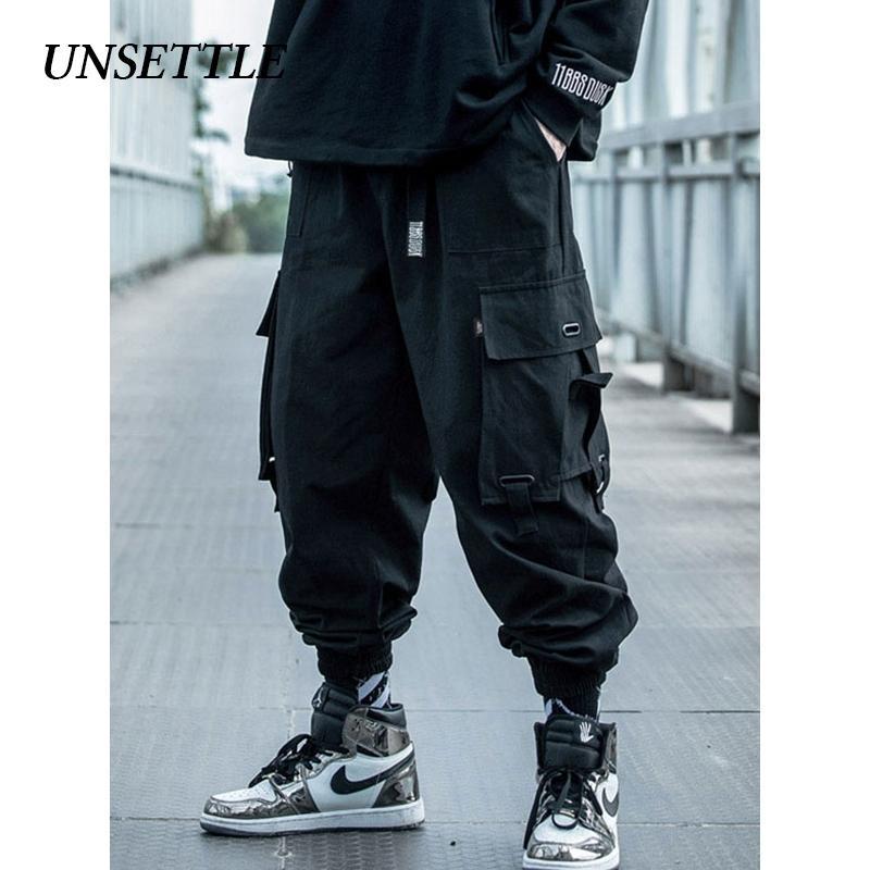 Неселевые японские боковые карманные грузы гарема брюки мужские повседневные пробежки военные хип-хоп тактикальные уличные брюки мужские 201109