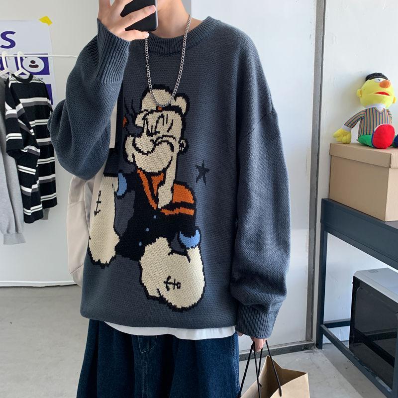 2020 осень и зима новой корейской версии Harajuku Лазы печати Унисекс Пара Сыпучие смазливая Повседневный пуловер свитер