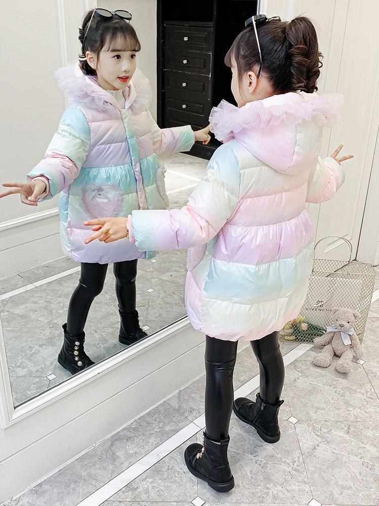 Kız kış giysileri Çocuk 2020 yeni Kore versiyonu pamuk yastıklı ceket, orta ve uzun tarzı aşağı kalınlaşmış